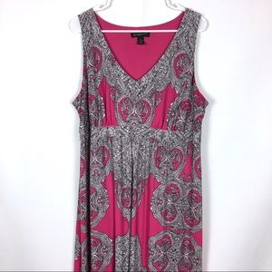 INC Maxi Dress Sleeveless Pink & Black 2X